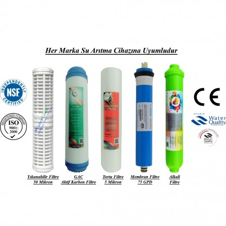 Yıkanabilir+GAC Karbon+5 Mikron Sediment+Membran+Alkalin Filtre