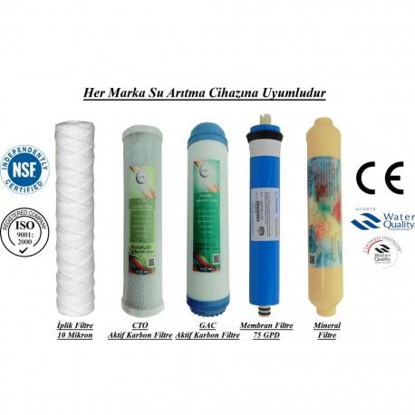 İplik+GAC Aktif Karbon+CTO Aktif Karbon+Membran+Mineral Filtre
