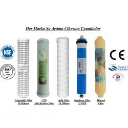 Yıkanabilir+CTO Aktif Karbon+İplikt+Membran+Mineral Filtre