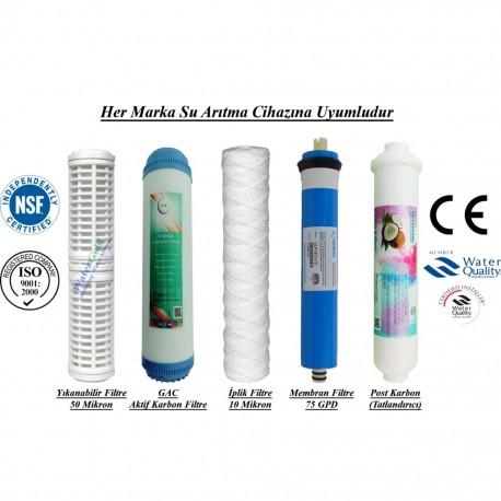 Yıkanabilir+GAC Aktif Karbon+İplik+Membran+Post Tatlandırıcı