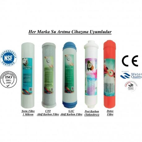 1 Mikron Sediment+GAC Karbon+CTO Karbon+Post Karbon+Detox Filtre