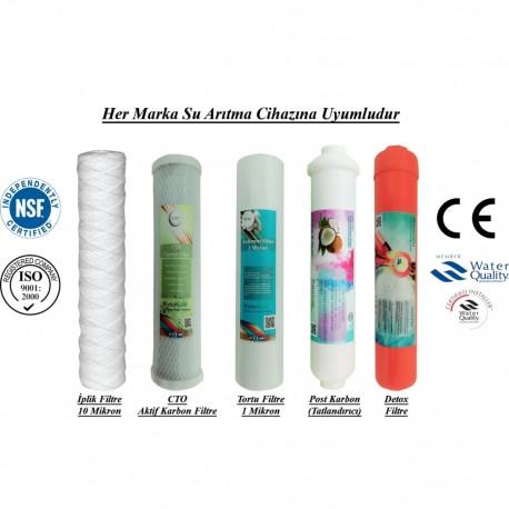 İplik+CTO Aktif Karbon+1 Mikron Sediment+Post Karbon+Detox Filtre