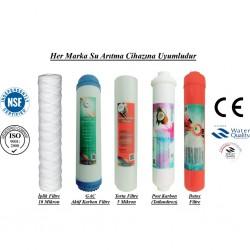 İplik+GAC Aktif Karbon+5 Mikron Sediment+Post Karbon+Detox Filtre