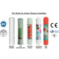 İplik+CTO Aktif Karbon+5 Mikron Sediment+Post Karbon+Detox Filtre