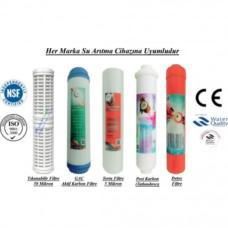 Yıkanabilir+GAC Aktif Karbon+5 Mikron Sediment+Post Karbon+Detox