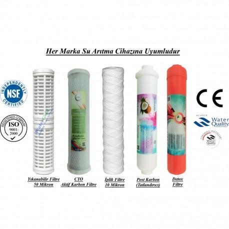 Yıkanabilir+CTO Aktif Karbon+İplik+Post Karbon+Detox Filtre