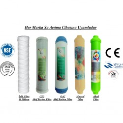 İplik+GAC Aktif Karbon+CTO Aktif Karbon+Mineral+Alkali Filtre