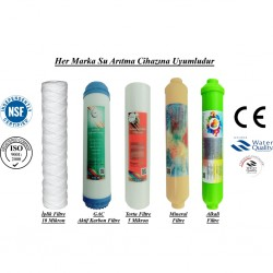 İplik+GAC Aktif Karbon+5 Mikron Sediment+Mineral+Alkali Filtre