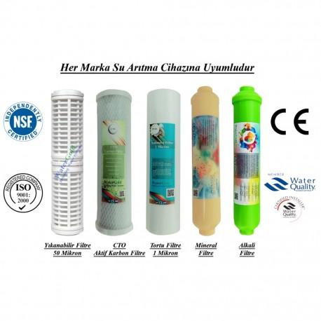 Yıkanabilir+CTO Karbon+1 Mikron Sediment+Mineral+Alkali Filtre