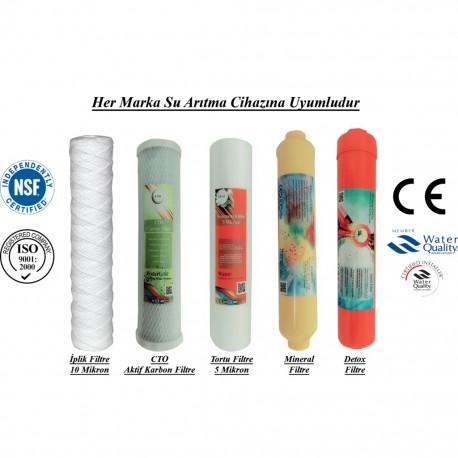 İplik+CTO Aktif Karbon+5 Mikron Sediment+Mineral+Alkali Filtre
