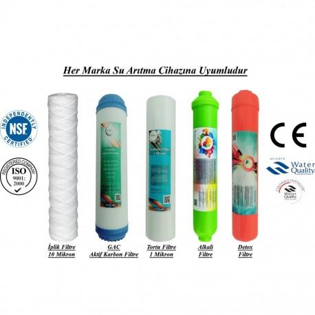 İplik+GAC Aktif Karbon+1 Mikron Sediment+Alkali+Detox Filtre
