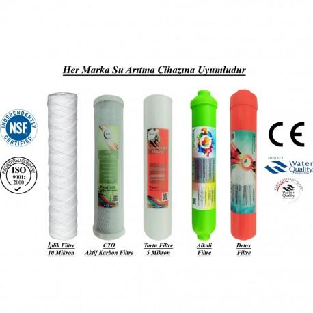 İplik+CTO Aktif Karbon+5 Mikron Sediment+Alkali+Detox Filtre