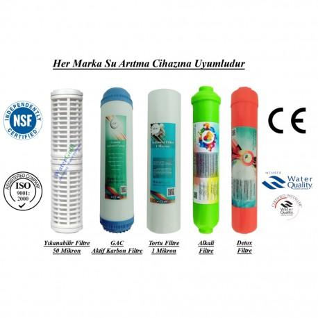 Yıkanabilir+GAC Aktif Karbon+1 Mikron Sedimen+Alkali+Detox Filtre