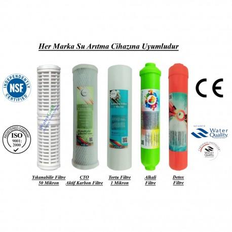 Yıkanabilir+CTO Aktif Karbon+1 Mikron Sedimen+Alkali+Detox Filtre