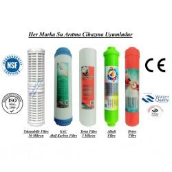 Yıkanabilir+GAC Aktif Karbon+5 Mikron Sedimen+Alkali+Detox Filtre