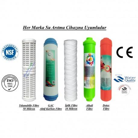 Yıkanabilir+GAC Aktif Karbon+İplik+Alkali+Detox Filtre