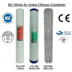 20 inç 5 Mikron Spun+GAC Karbon+Kireç Önleyici Silifoz Filtre