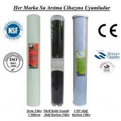 20 inç 5 Mikron Spun Shel GAC Karbon CTO Karbon Filtre