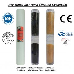 20 inç 5 Mikron Spun Shel GAC Karbon Kireç Önleyici Reçine Filtre