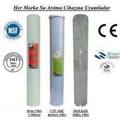 20 inç 5 Mikron Spun CTO Karbon Kireç Önleyici Silifoz Filtre
