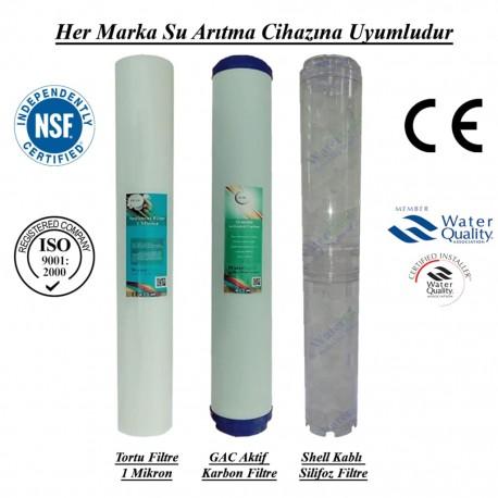 20 inç 1 Mikron Spun GAC Karbon Kireç Önleyici Silifoz Filtre