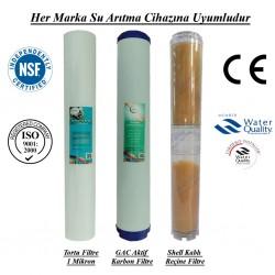 20 inç 1 Mikron Spun GAC Karbon  Kireç Önleyici Reçine Filtre