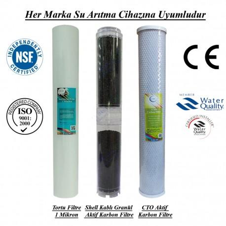 20 inç 1 Mikron Spun+Shell Granül Karbon+CTO Aktif Karbon Filtre