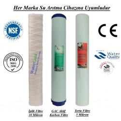 20 inç İplik GAC Aktif Karbon 5 Mikron Spun Filtre