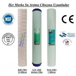 20 inç İplik GAC Aktif Karbon 1 Mikron Spun Filtre