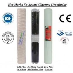 20 inç İplik Shell GAC Aktif Karbon 5 Mikron Supun Filtre