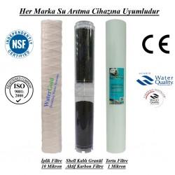 20 inç İplik Shell GAC Aktif Karbon 1 Mikron Supun Filtre