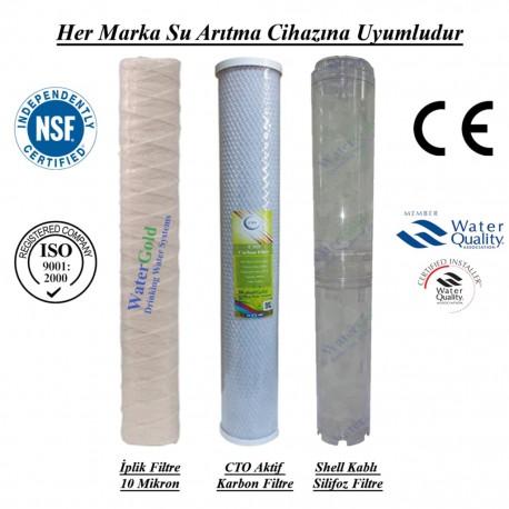 20 inç İplik Koku Giderici Karbon Kireç Önleyici Silifoz Filtre