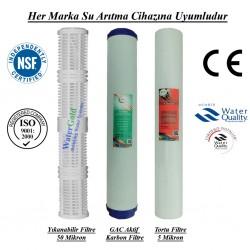 20 inç Yıkanabilir Koku Giderici GAC Karbon 5 Mikron Tortu Filtre