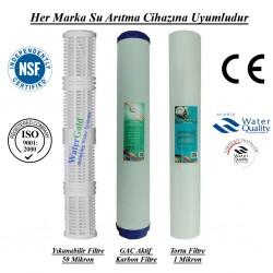20 inç Yıkanabilir Koku Giderici GAC Karbon 1 Mikron Tortu Filtre