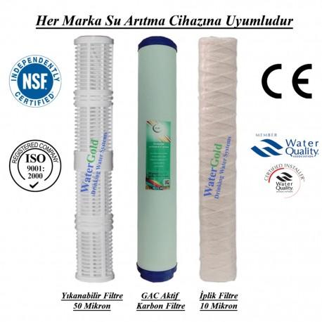 20 inç Yıkanabilir Koku Giderici GAC Karbon İp Tortu Filtre