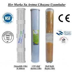 20 inç Yıkanabilir CTO Aktif Karbon Kireç Önleyici Reçine Filtre