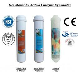 Su Arıtma 5 Mikron, 1 Mikron ve Mineral Filtre Seti
