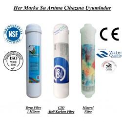 20 inç 1 Mikron, CTO Aktif Karbon ve Mineral Filtre Seti