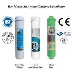 Su Arıtma 1 Mikron, GAC Aktif Karbon ve Alkali Filtre Seti