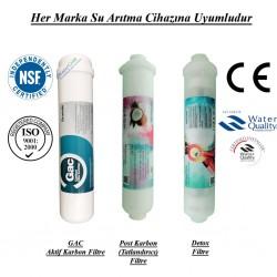 Su Arıtma GAC Aktif Karbon,  Post Karbon ve Detox Filtre Seti