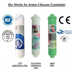 Su Arıtma CTO Aktif Karbon, Post Karbon ve Alkali Filtre Seti