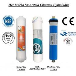 Su Arıtma 5 Mikron, GAC Aktif Karbon ve Membran Filtre Seti
