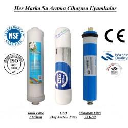 Su Arıtma 1 Mikron, CTO Aktif Karbon ve Membran Filtre Seti
