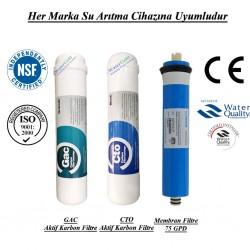Su Arıtma GAC Aktif Karbon, CTO Aktif Karbon ve Membran Filtre Seti