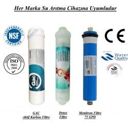 Su Arıtma GAC Aktif Karbon, Detox ve Membran Filtre Seti