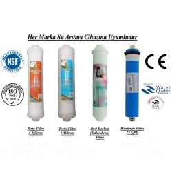Su Arıtma 5 Mikron, 1 Mikron, Post Karbon ve Membran Filtre Seti