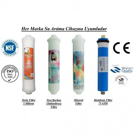 Su Arıtma 5 Mikron, Post Karbon, Mineral ve Membran Filtre Seti
