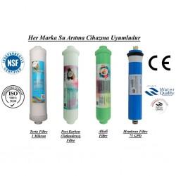 Su Arıtma 1 Mikron, Post Karbon, Alkali ve Membran Filtre Seti