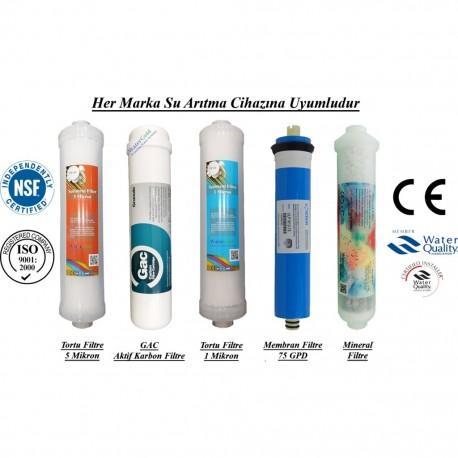 Su Arıtma 5 Mikron, GAC, 1 Mikron, Membran ve Mineral Filtre Seti