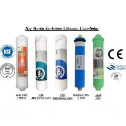 Su Arıtma 5 Mikron, GAC, CTO, Membran ve Alkalin Filtre Seti